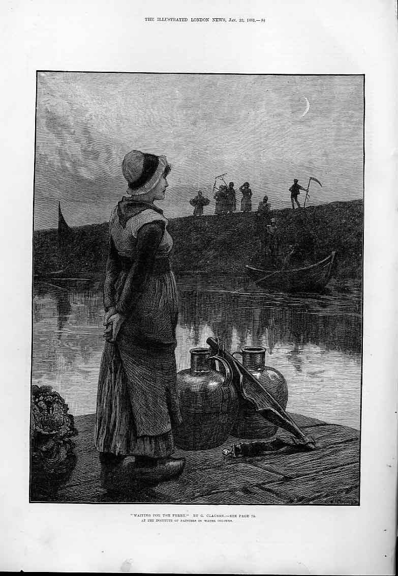 Print Waiting For Ferry By Clausen Fine Art 188 84Aaa0 Old Original