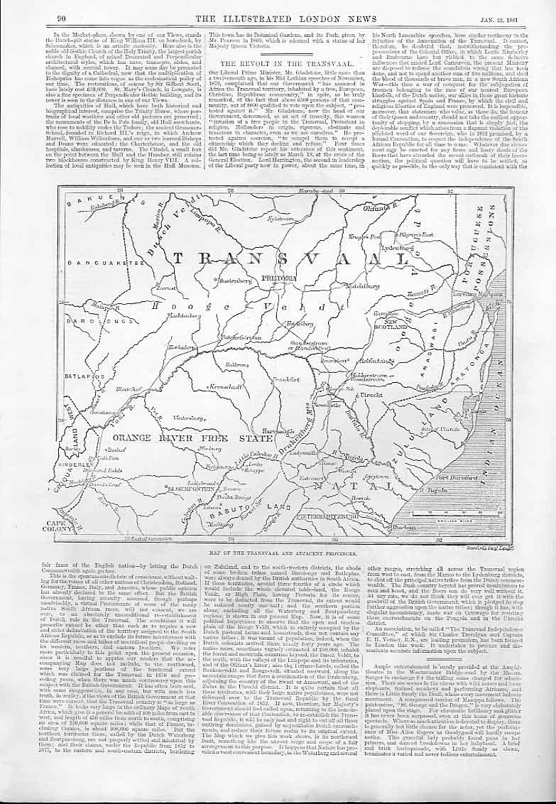 Print 1881 Map Transvaal And Adjacent Provinces 90Aaa0 Old Original