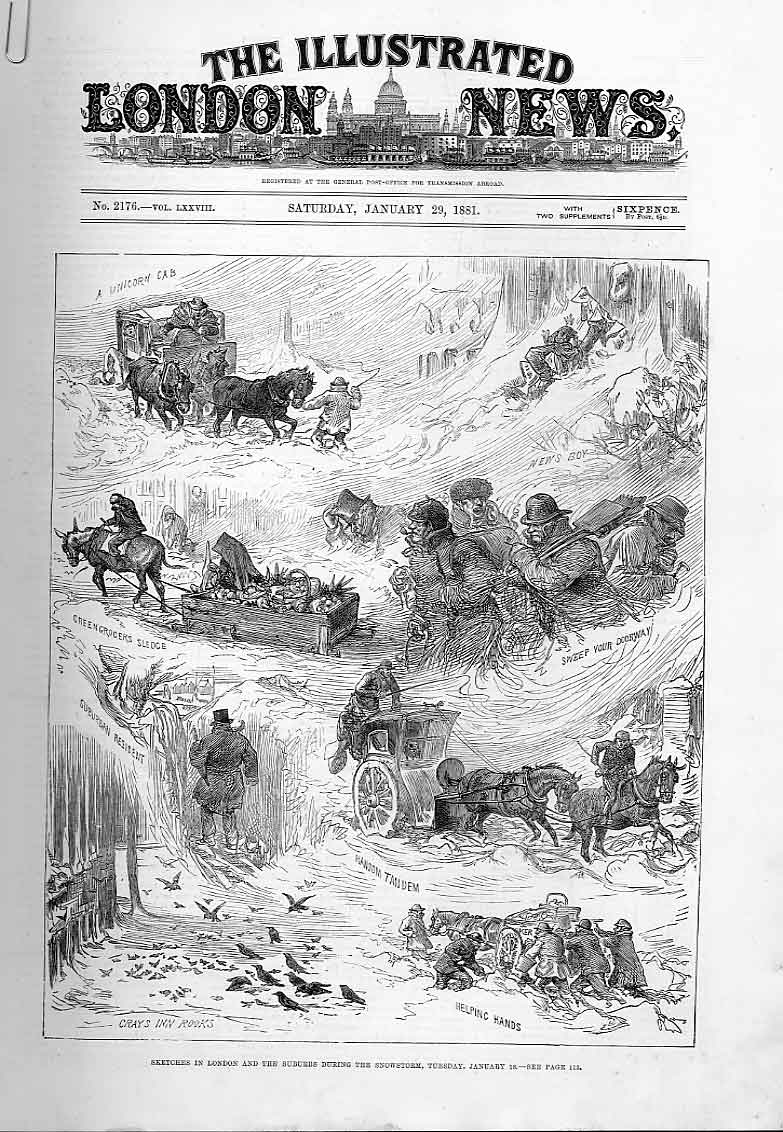 Print London During Snowstorm January 1881 00Aaaa0 Old Original