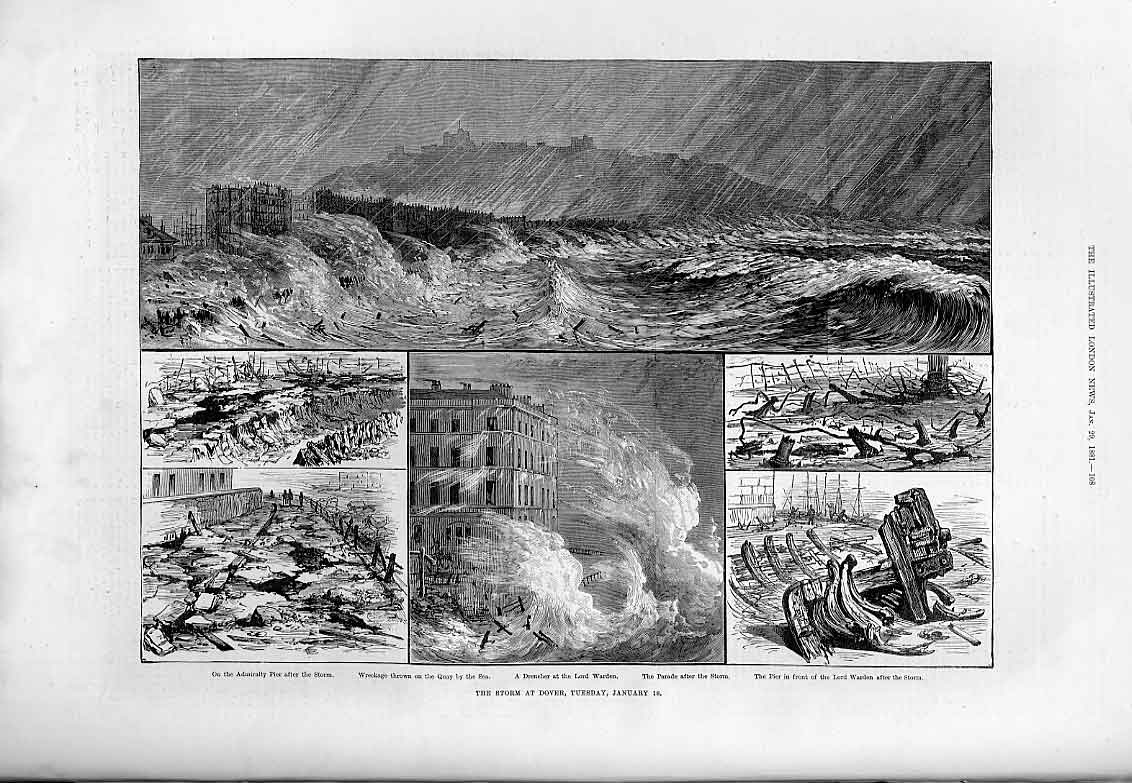 Print Storm At Dover January 1881 08Aaa0 Old Original