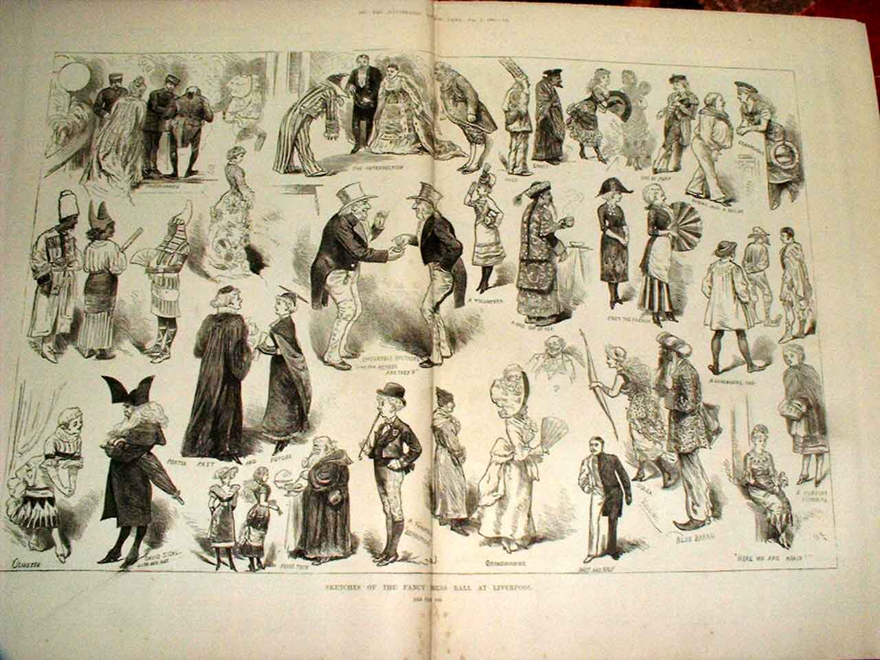 Print Sketches Fancy Dress Ball Liverpool 39Taaa0 Old Original