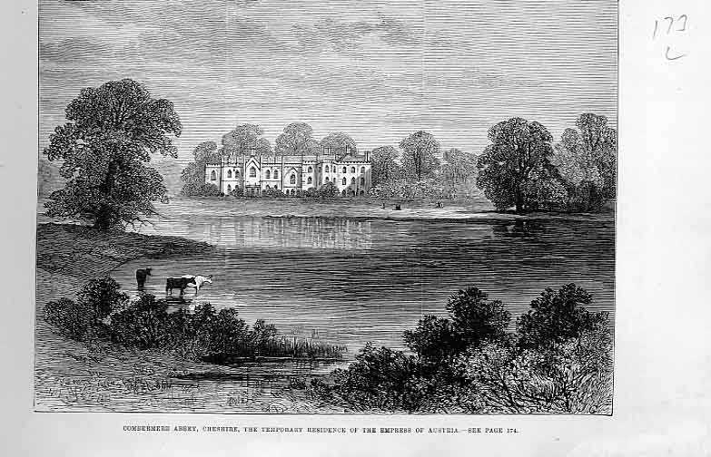 Print Comberere Abbey 1881 Cheshire 73Laaa0 Old Original
