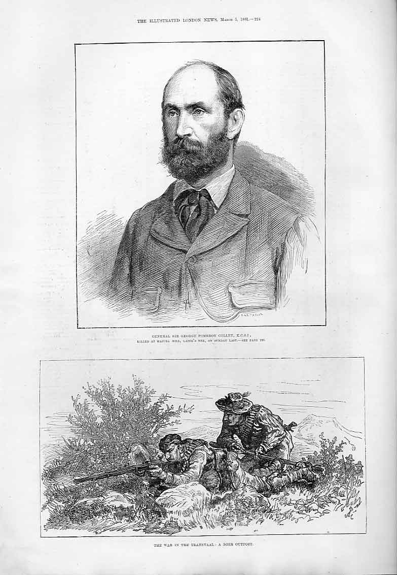 Print Gen Sir Geaorge Colley Killed Majuba Hill Africa 1881 24Aaa0 Old Original