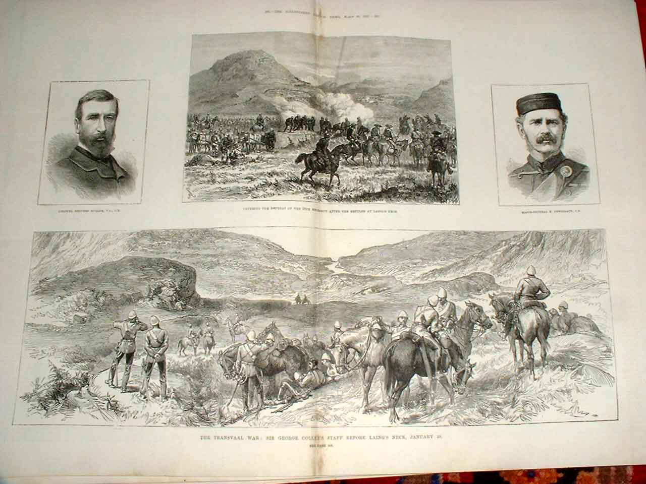 Print Transvaal War Colley'S Staff Before Laing'S Neck Africa 07Taaa0 Old Original