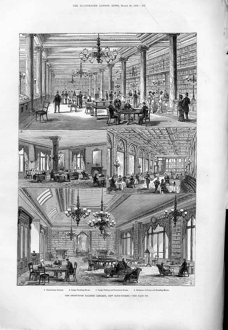 Print Grosvenor Gallery Library New Bond Street London 1881 12Aaa0 Old Original