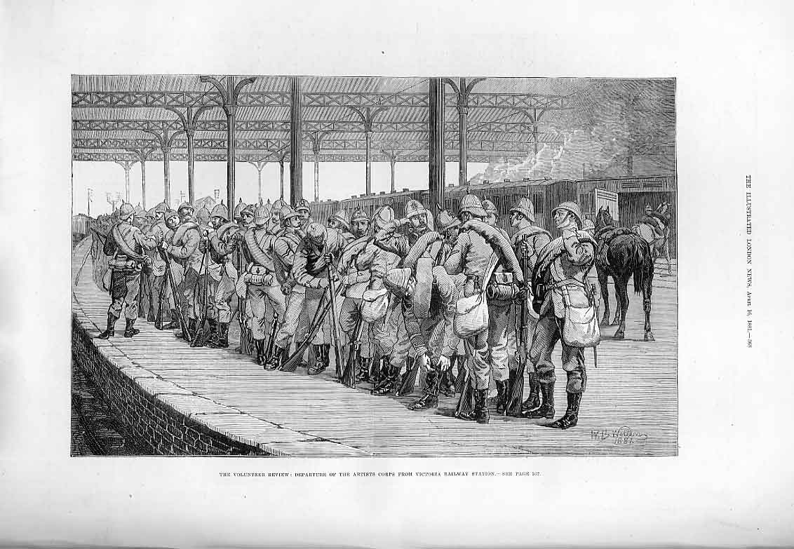 Print Troops At Victoria Railway Station 1881 68Aaa0 Old Original
