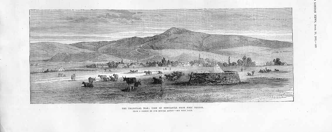 Print Necastle From Fort Terror 1881 Transvaal War Africa 69Aaa0 Old Original
