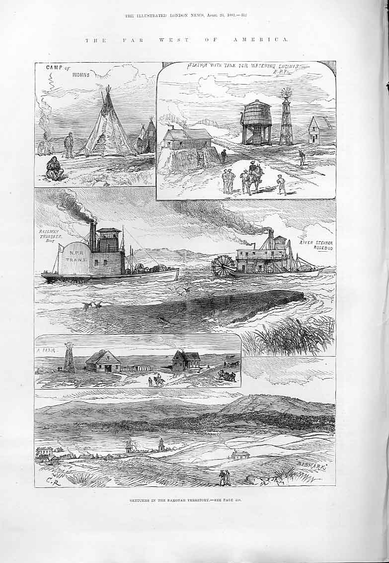 Print Far West America Dakatah 1881 12Aaa0 Old Original