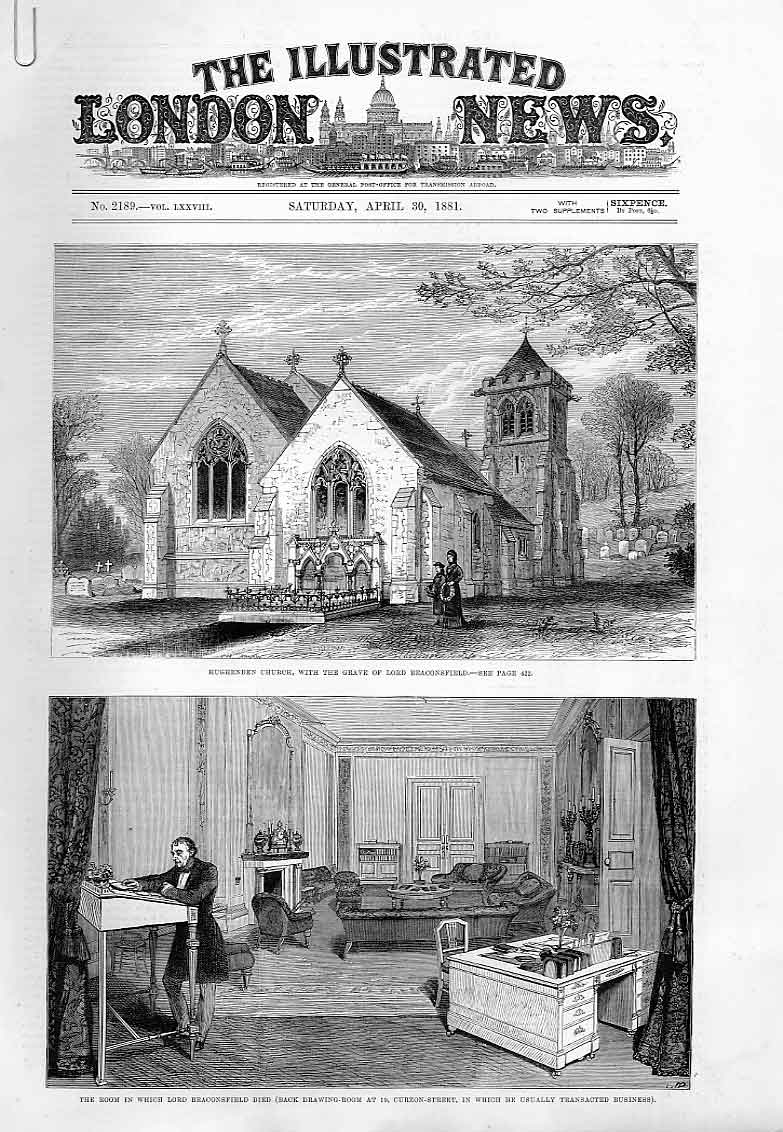 Print Funeral Lord Beaconsfield 1881 21Aaaa0 Old Original