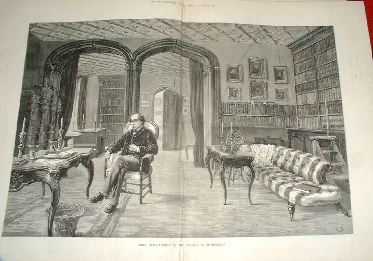 Print Lord Beaconsfield In His Library At Hughenden 1881 23Taaa0 Old Original