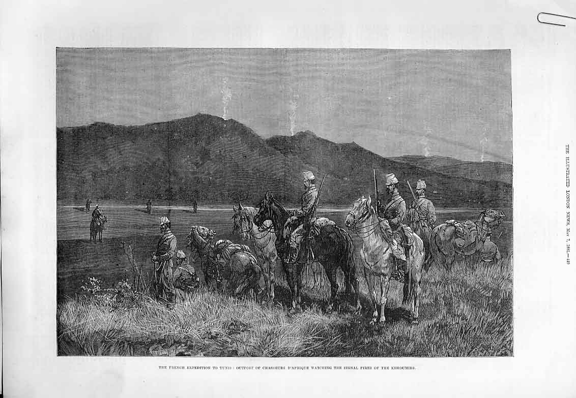Print French Chasseurs On Outpost In Tunis 1881 49Aaaa0 Old Original