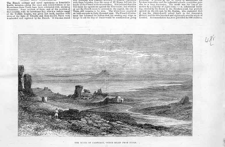 Print Ruins Carthage 3 Miles From Tunis 1881 88Laaa0 Old Original