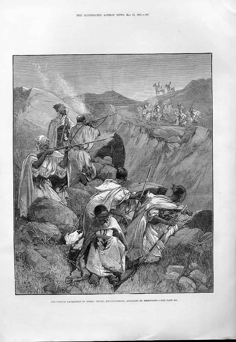 Print Goums Reconnoitering Attacked By Khroumirs Tunis French 96Aaa0 Old Original