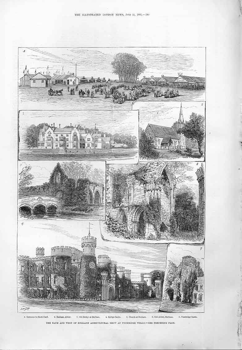 Print Bath & West Show At Tunbridge Wells 1881 80Aaa0 Old Original