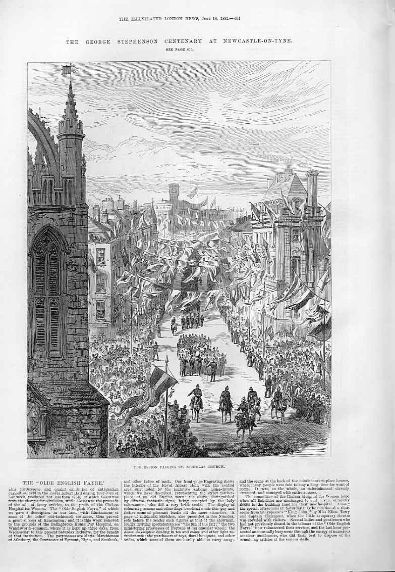 Print Stephenson Procession St Nicholas Church Newcastle 1881 04Aaa0 Old Original