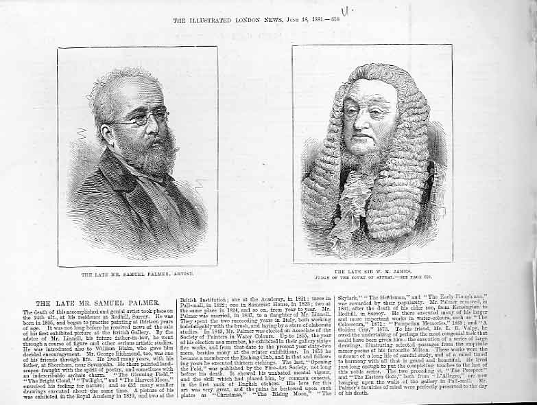 Print Portrait Samual Palmer & Justice James 18 16Uaaa0 Old Original
