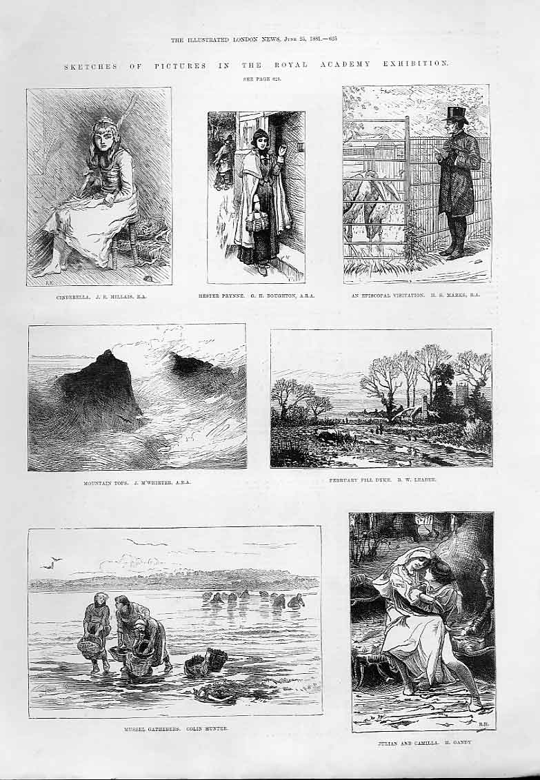 Print Sketches Picture Royal Academy 1881 25Aaa0 Old Original