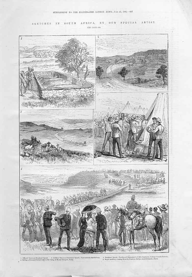 Print Sketches S Africa Natal 1881 33Aaa0 Old Original