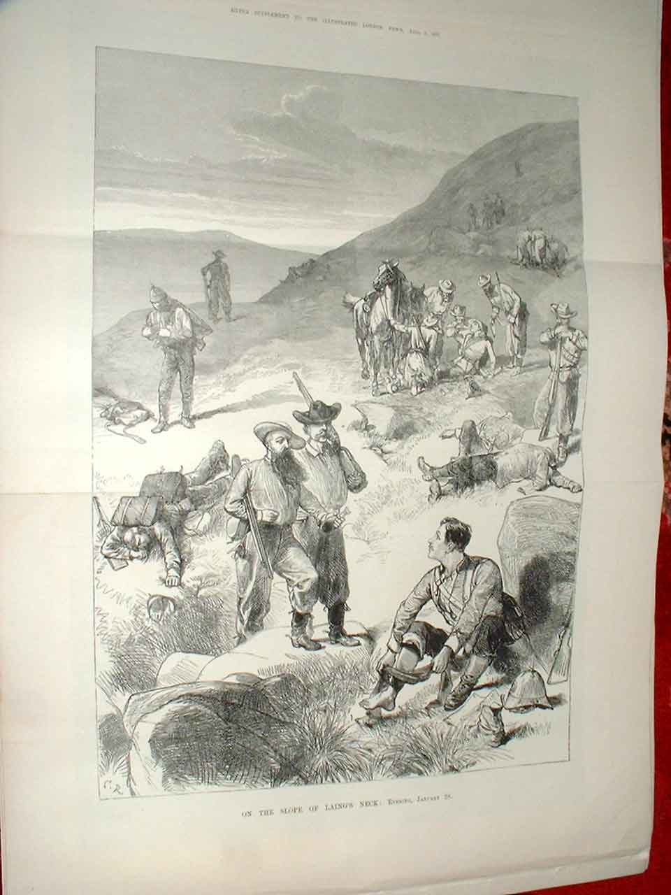 Print On Laing'S Neck Transvaal War 1881 08Taaa0 Old Original