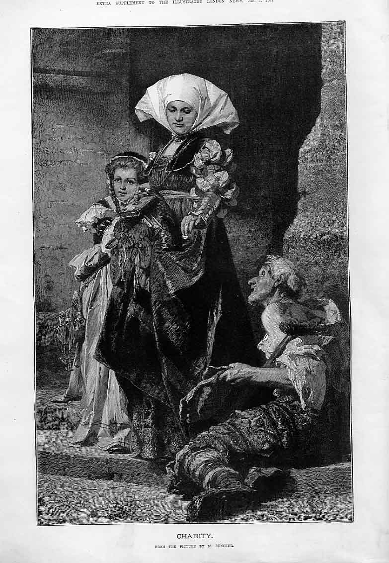 Print Charity By Benczur Fine Art 1881 51Aaa0 Old Original
