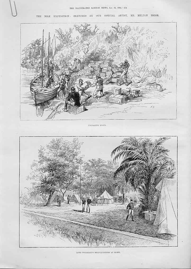Print Unloading & Repairing Boats On Nile 1885 Soudan 14Aaaa0 Old Original