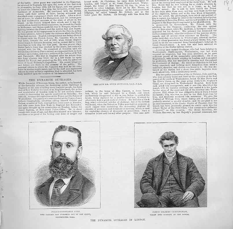 Print Portrait Gwyn Jeffreys Pc Cole James Cunningham 1885 47Laaa0 Old Original
