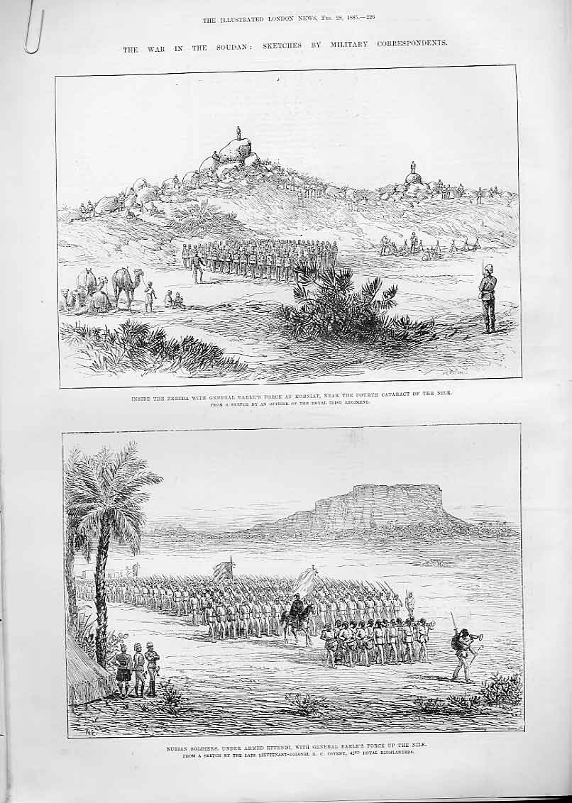 Print Gen Earle & Nubian Soldiers Up The Nile Egypt 1885 26Aaaa0 Old Original