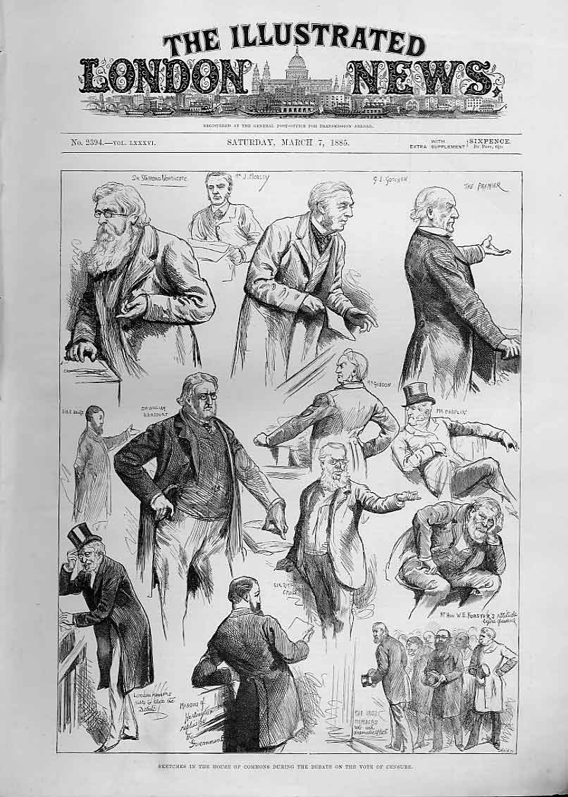 Print Vote Censure Commons Debate 1885 40Aaa0 Old Original