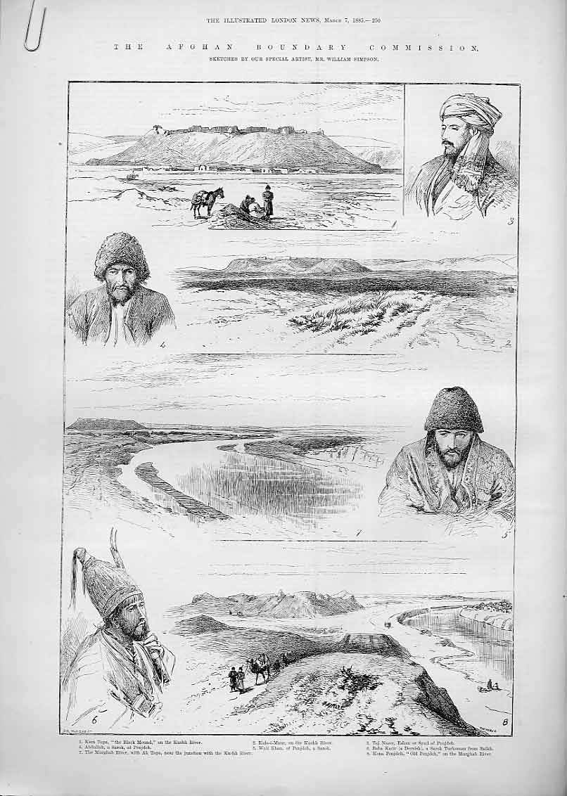 Print Lushk River Afghan Boundry 1885 50Aaaa0 Old Original