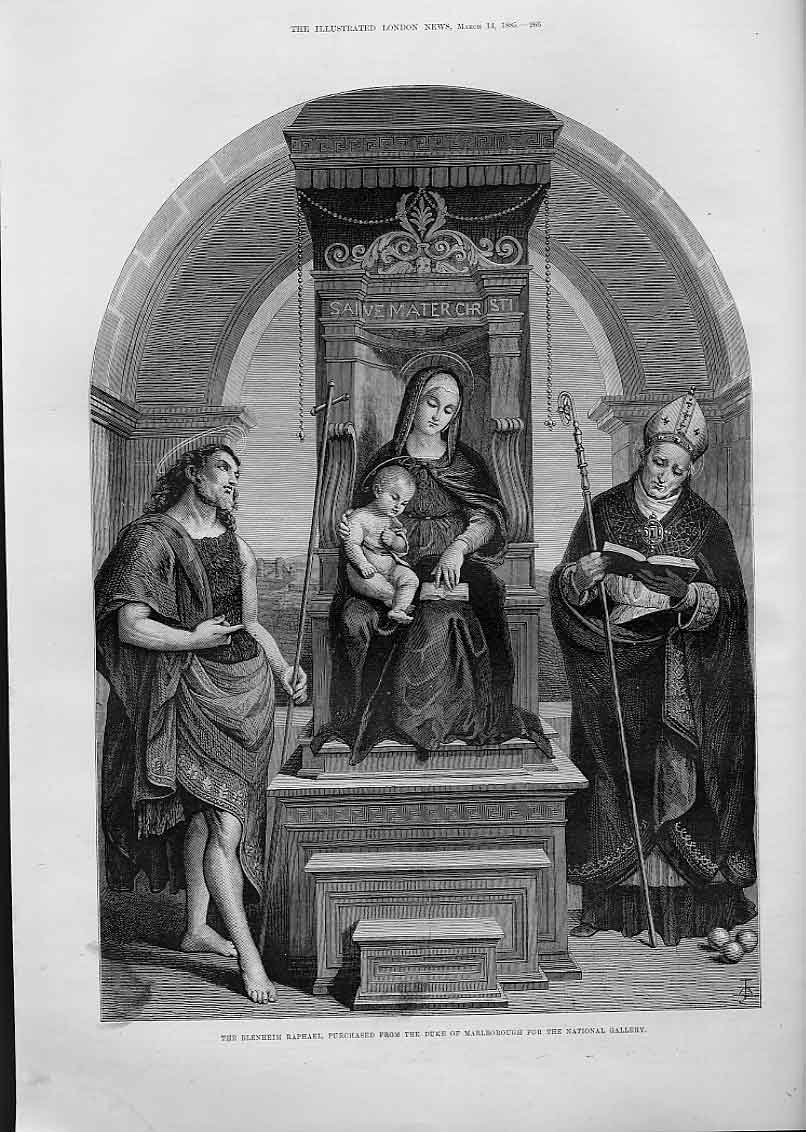 Print Madonna & Child Fine Art By Raphael 66Aaa0 Old Original