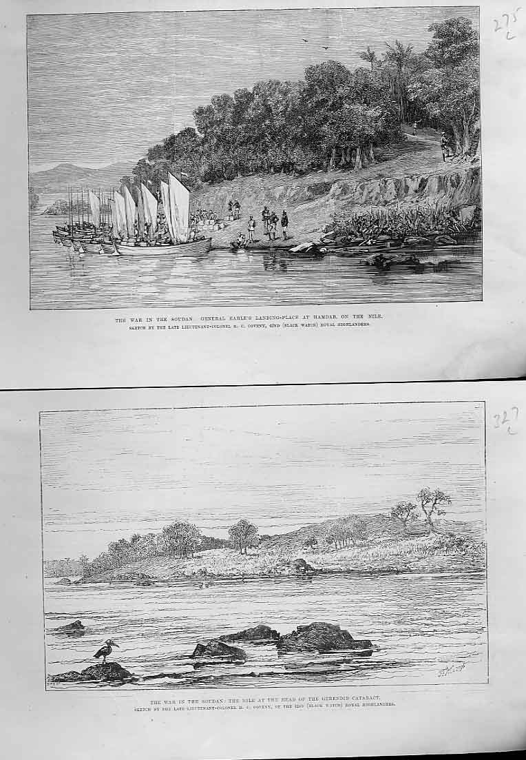 Print Gen Earle'S Landing At Hamdab Nile 1885 75Laaa0 Old Original