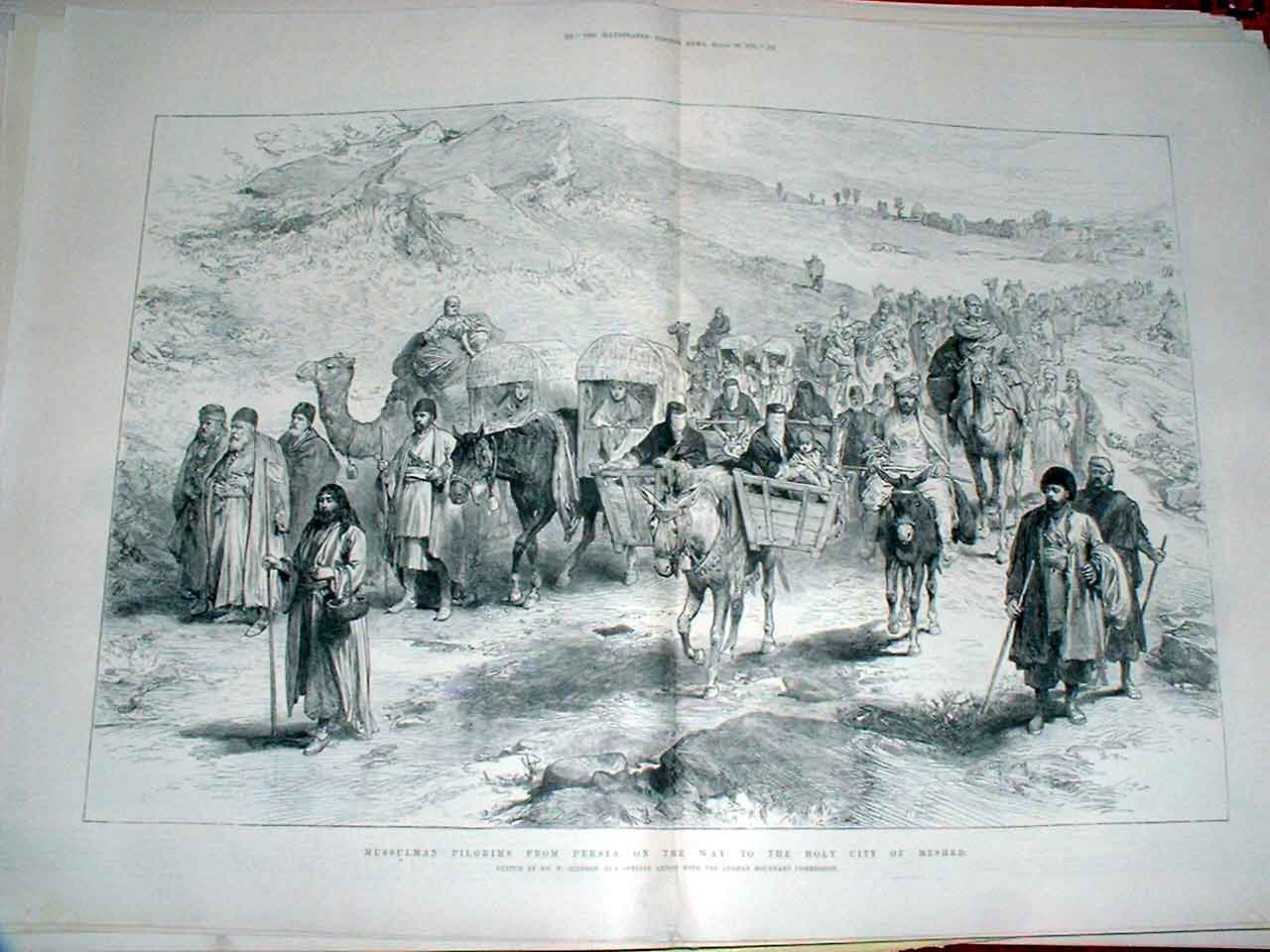 Print Mussulman Pilgrims From Persia To Holy City Meshed 1885 21Taaa0 Old Original