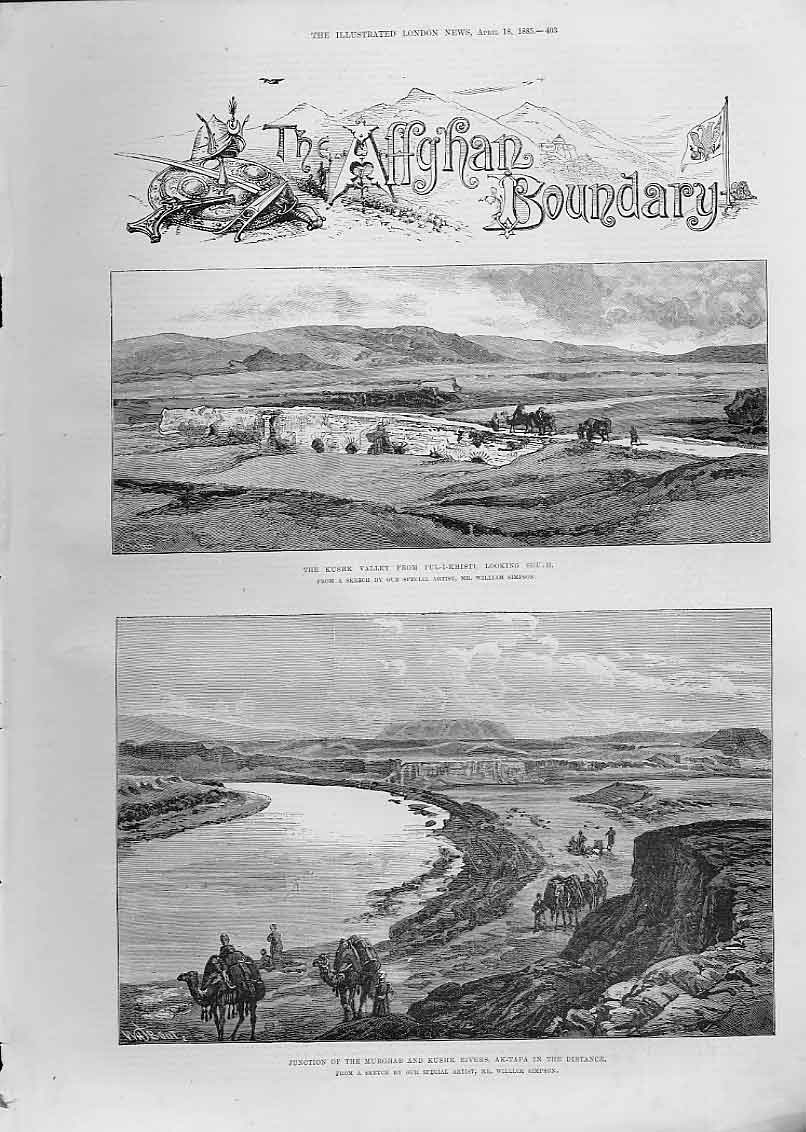 [Print Kushk Valley Pul I Khisti Bridge Afghan Boundry 1885 03Aaaa0 Old Original]