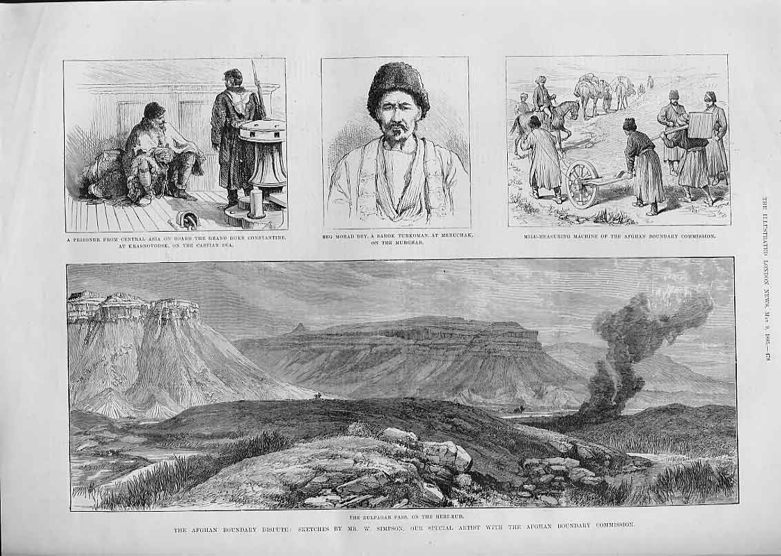 [Print Zulfagar Pass On The Heri Rud 1885 Afghan 78Aaa0 Old Original]