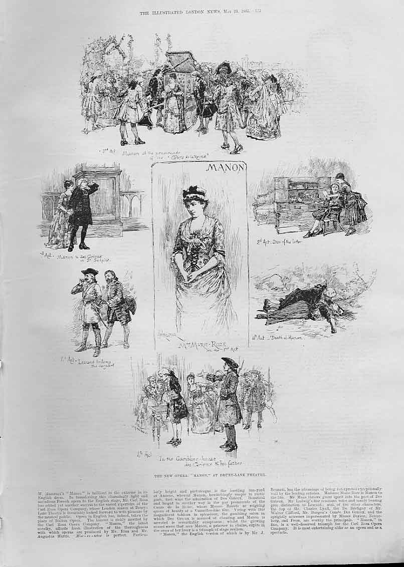 Print New Opers Manon At Dury Lane Theatre 1885 London 35Aaa0 Old Original