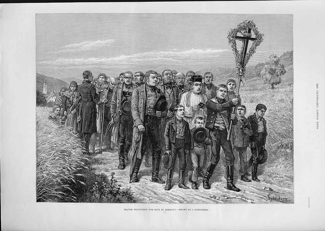 Print Prayer Procession For Rain In Germany 188 17Aaa0 Old Original