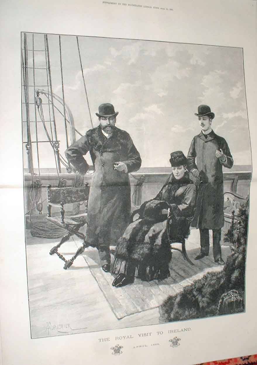 Print Prince Princess Wales On Way To Ireland 1885 Portrait 54Taaa0 Old Original