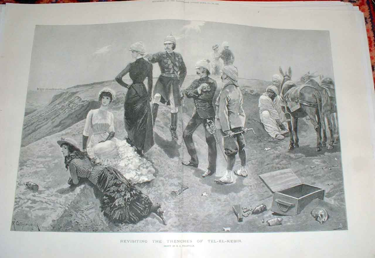Print Revisit Trenches Tel El Kebir With Wives Sweethearts 55Taaa0 Old Original