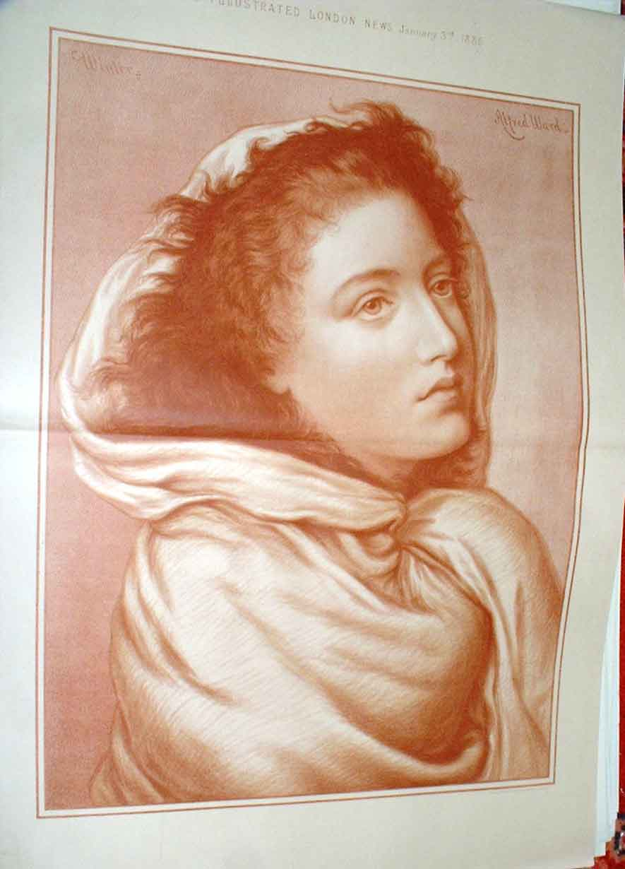Print Girl In Winter Fine Art By Ward 1885 Sepi 59Taaa0 Old Original