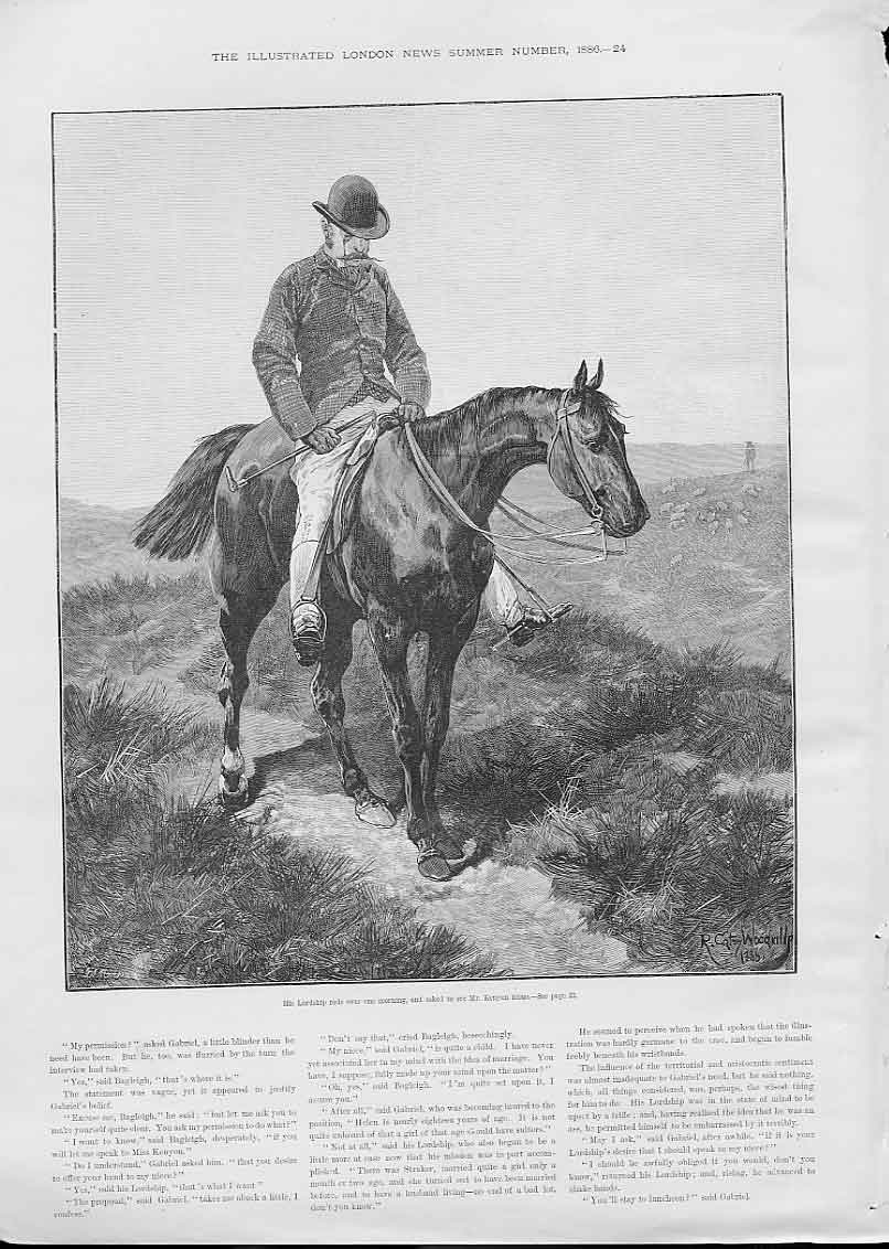 Print His Lordship On Horse By Woodville 24Aaa0 Old Original