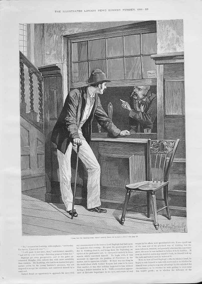 Print Come Into The Smoking Room By Woodville 25Aaa0 Old Original