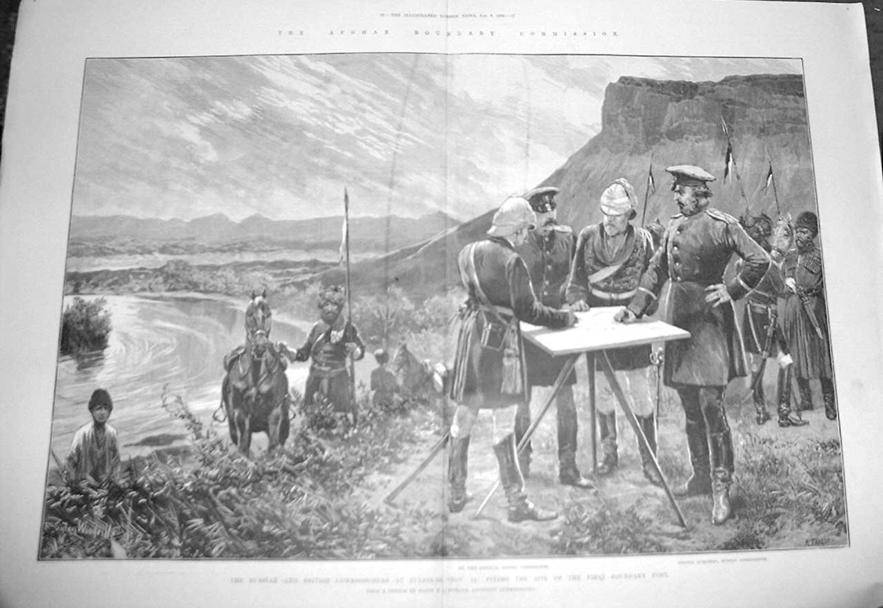 [Print Afghan Boundry Commissioners Fix Site First Mark 1886 35Taaa0 Old Original]