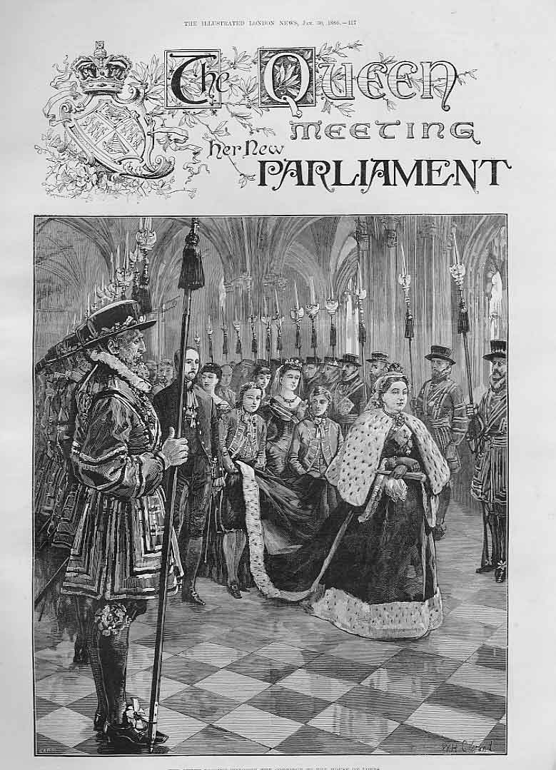 Print Queen Victoria Meeting The New Parliament 1886 18Aaa0 Old Original