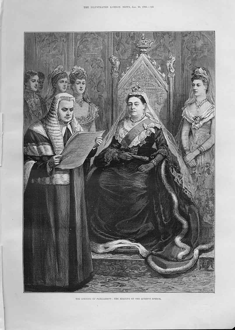 Print Portrait Queen Victoria At Reading Queens Speech 1886 21Aaa0 Old Original