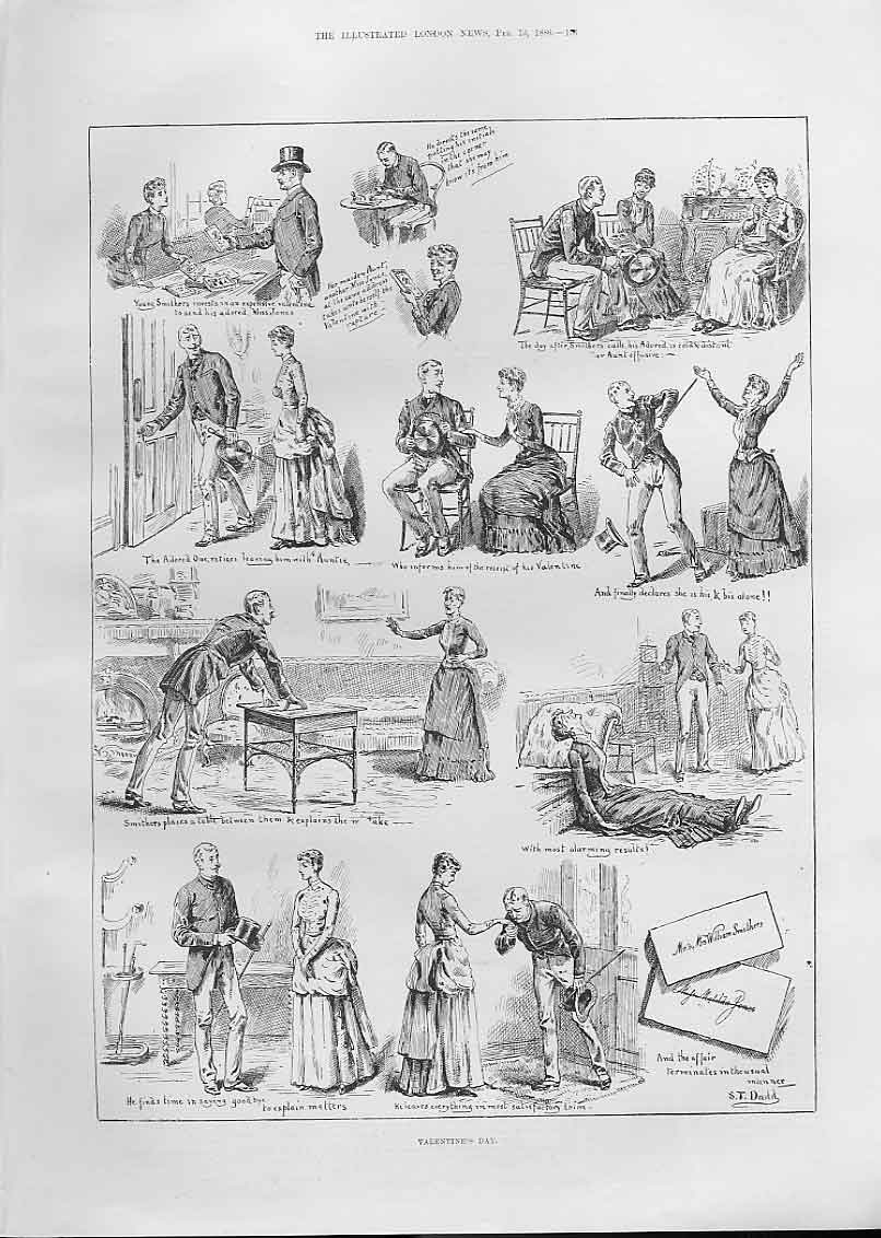Print Valentines Day 1886 53Aaa0 Old Original