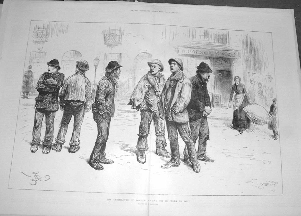Print The Unemployed London By Barnard 1886 83Taaa0 Old Original