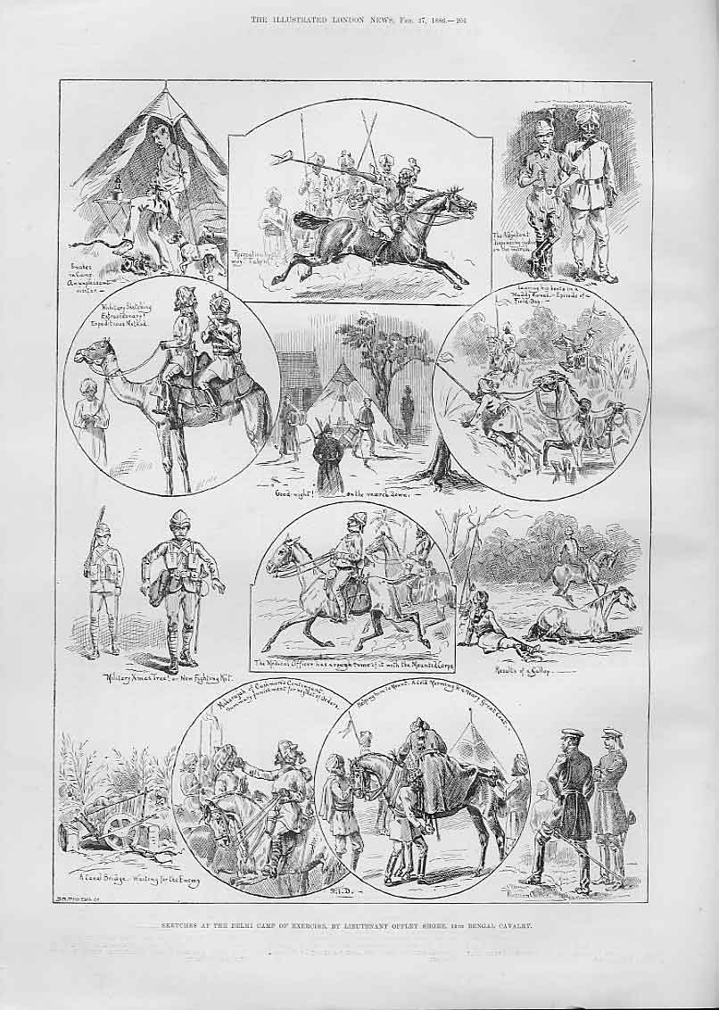 Print Bengal Cavalry At Delhi Exercise Camp Ind 04Aaa0 Old Original