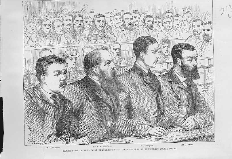 Print Social Democrat Leaders At Bow Street Police Court 1886 13Laaa0 Old Original