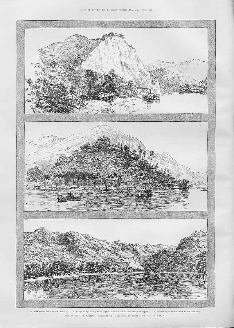 Print Irawaddy River Mya Doung Village 1886 38Aaa0 Old Original