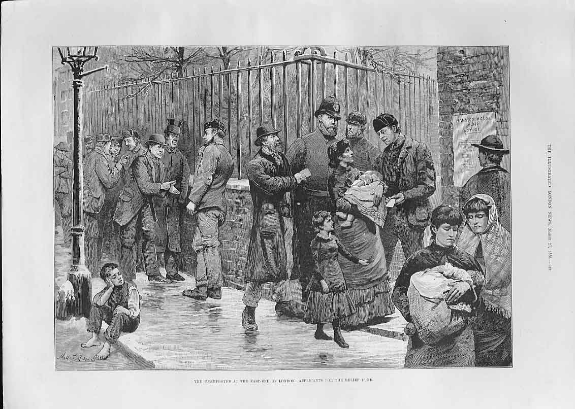 Print London Unemployed Applicants For Relief Fund 1886 19Aaa0 Old Original
